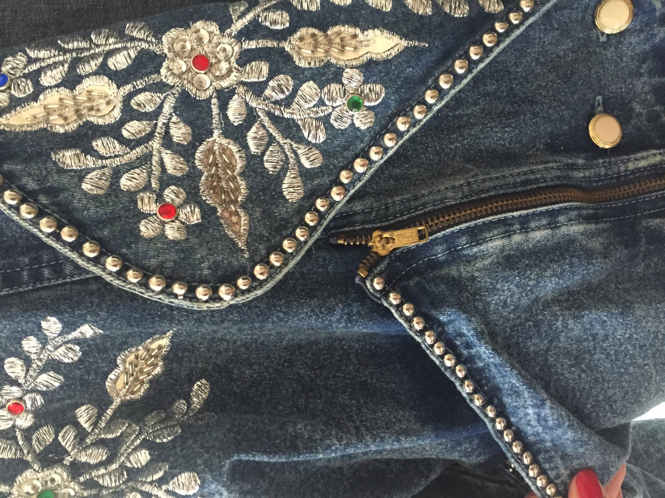 vintage glitzer jeansjacke mit silber applikationen in. Black Bedroom Furniture Sets. Home Design Ideas