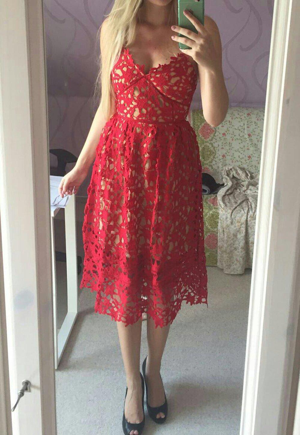 Rotes kleid mit spitze rotes kleid aus spitze mit for Rotes brautkleid kurz
