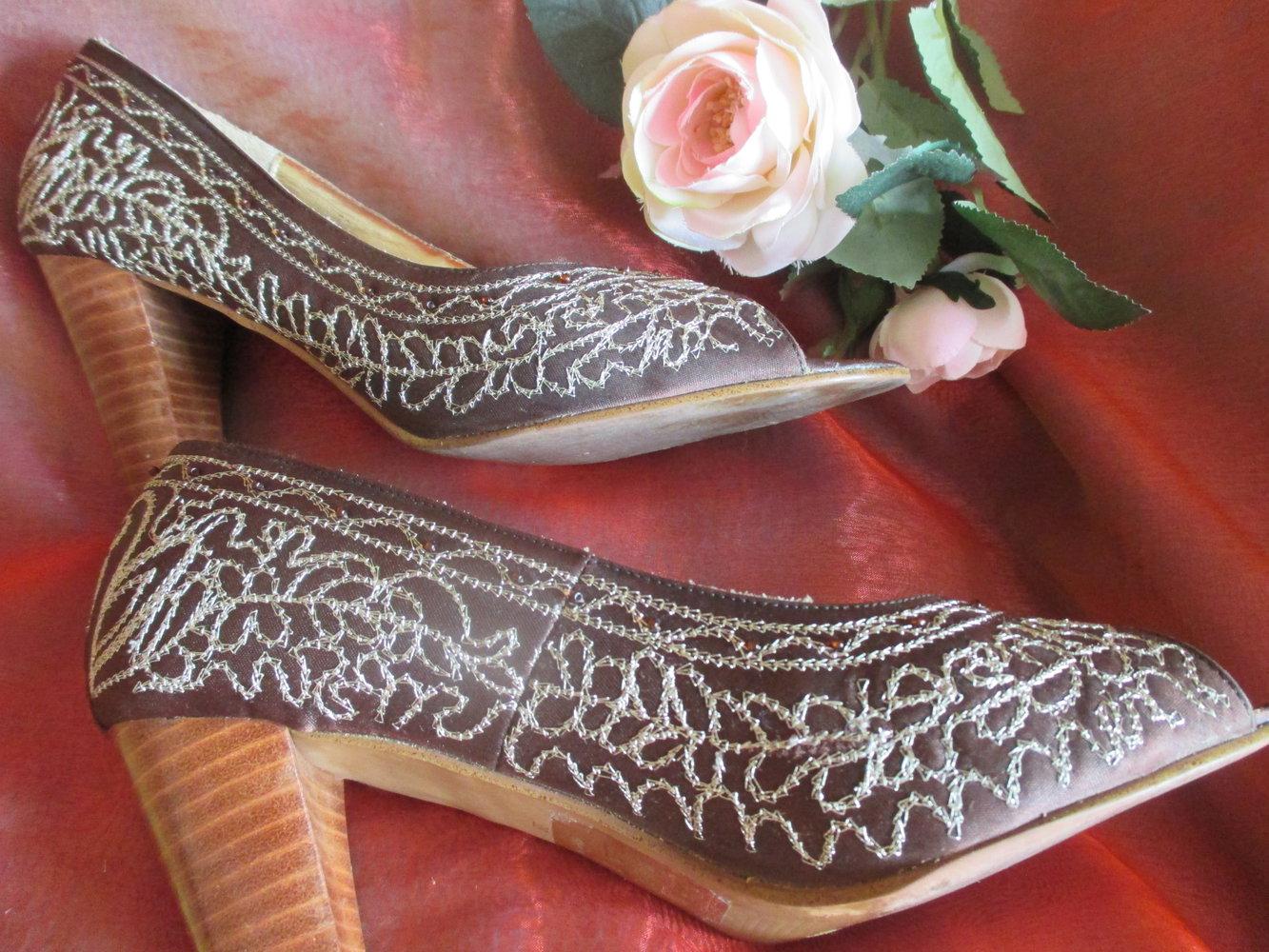 Details zu Satin Sandaletten von Apart zum Binden Gr 38 schwarz Sandalen High Heels Pumps