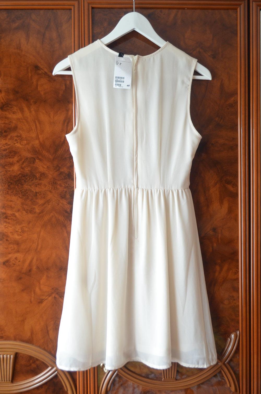 NEU H&M Chiffon Kleid Spitze Weiß 20 XS
