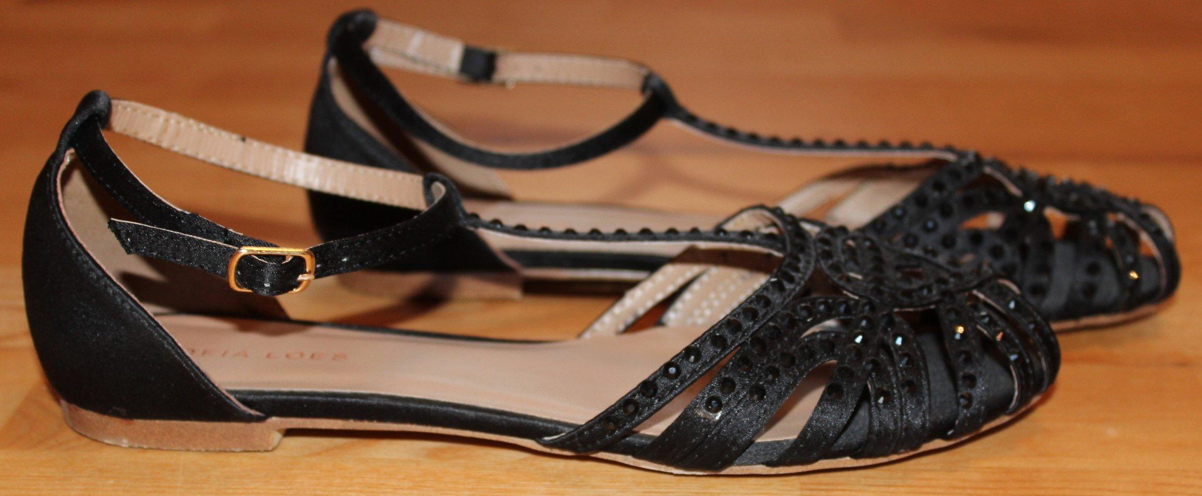 schwarze sandalen mit glitzersteinen sofia loes gr e 36. Black Bedroom Furniture Sets. Home Design Ideas