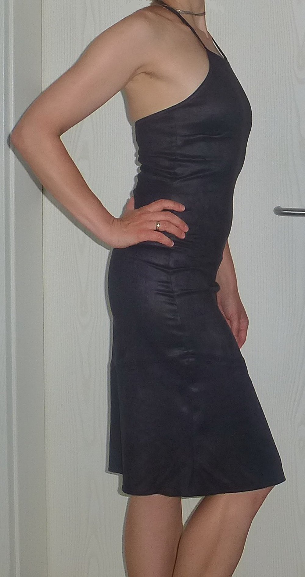 damen kleid elegant cocktailkleid abendkleid dunkelblau gr 36 38. Black Bedroom Furniture Sets. Home Design Ideas