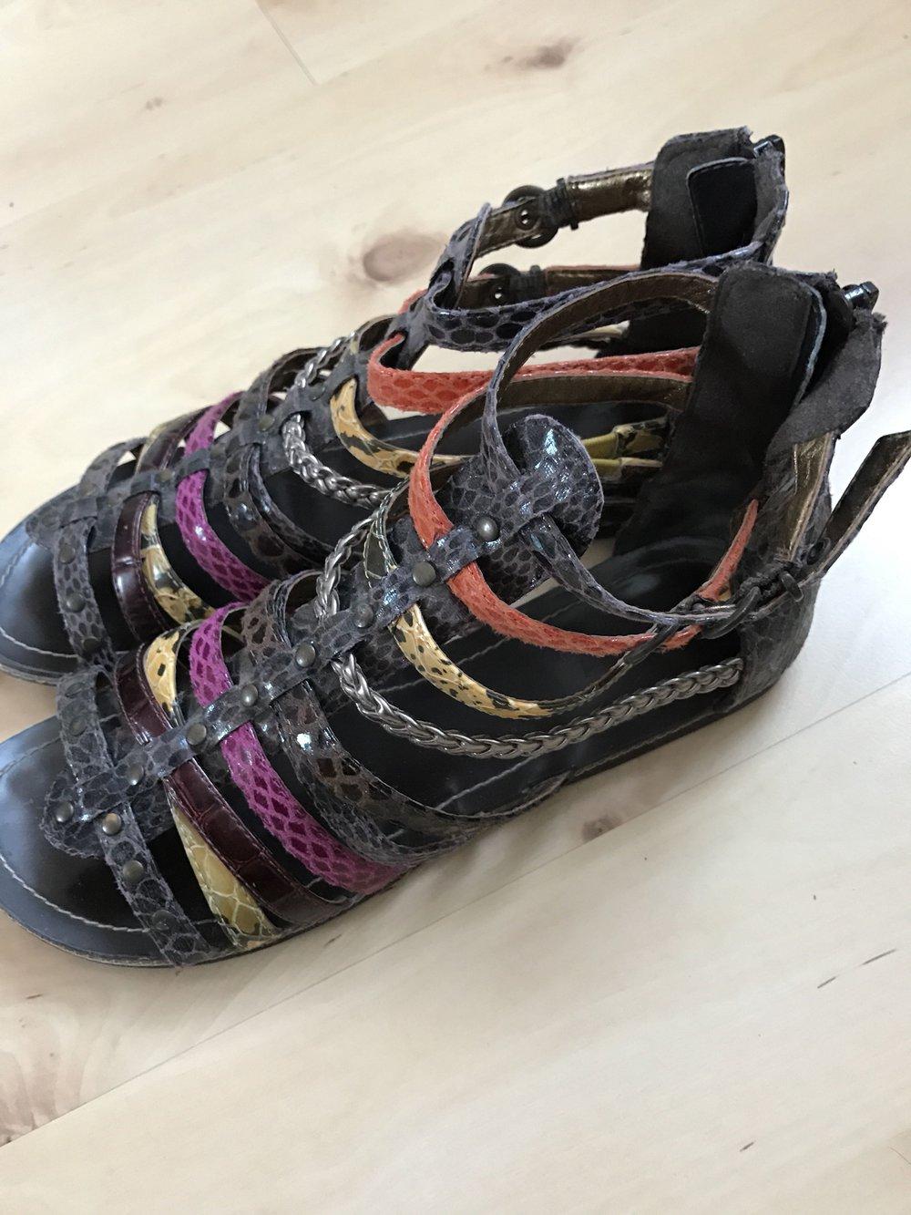 ... ausgefallen Sandalen mit bunten Riemchen in verschiedenen Mustern, Größe  40, Römersandalen, bunt, ... f60d692c00