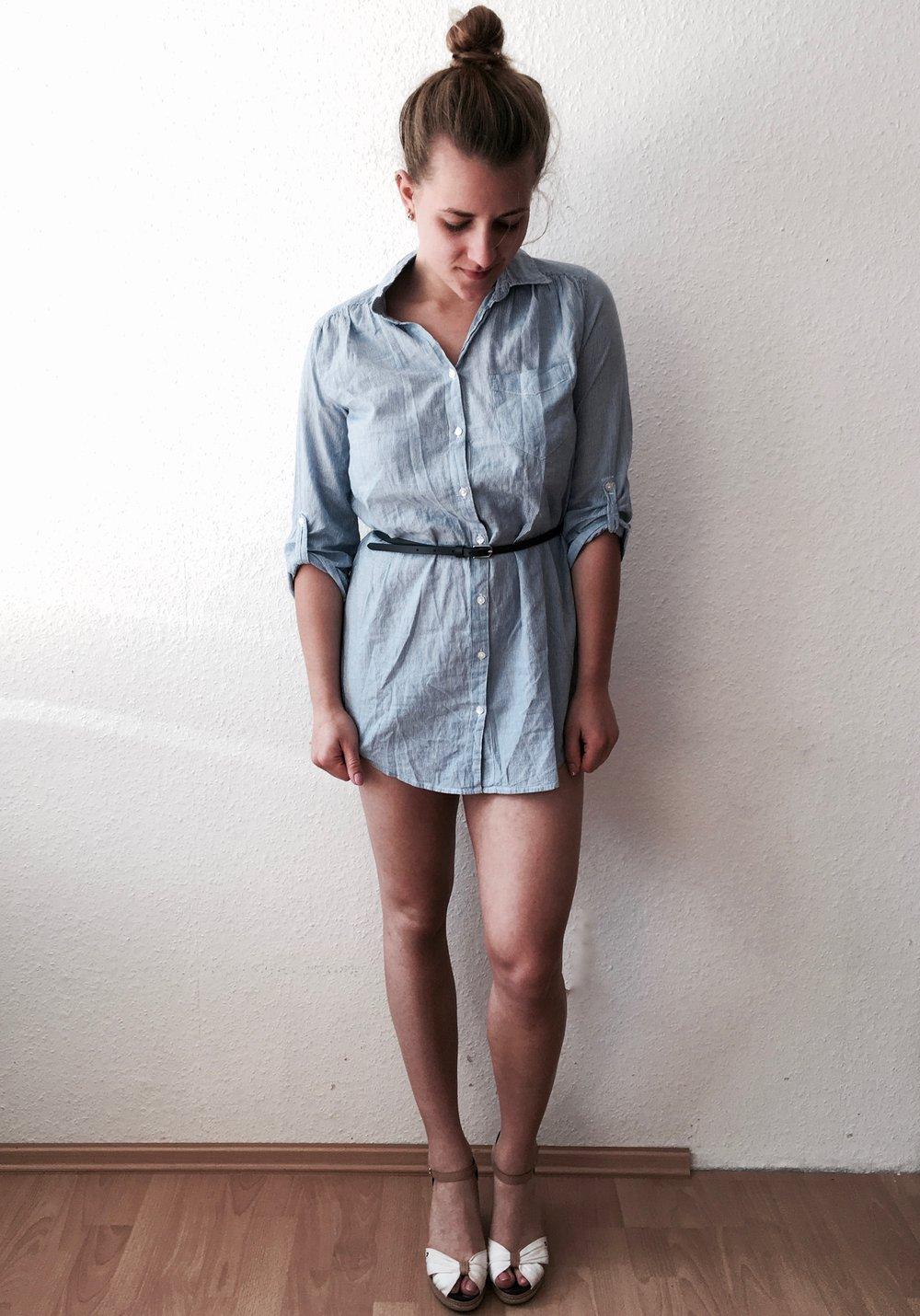 bluse lange blus kleid blusenkleid gestreift blau wei von. Black Bedroom Furniture Sets. Home Design Ideas