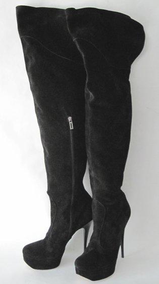 sexy high heels wildleder overknee stiefel mit plateau schwarz gr 43. Black Bedroom Furniture Sets. Home Design Ideas