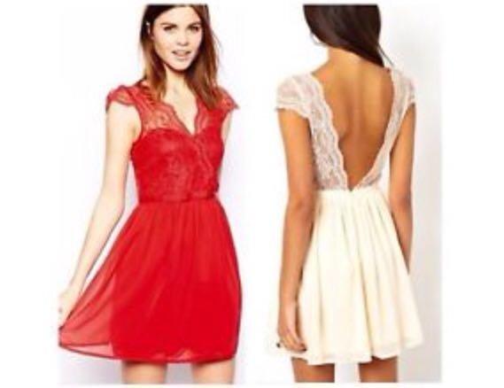 huge discount 970cb 83c07 Rotes Kleid mit Spitze
