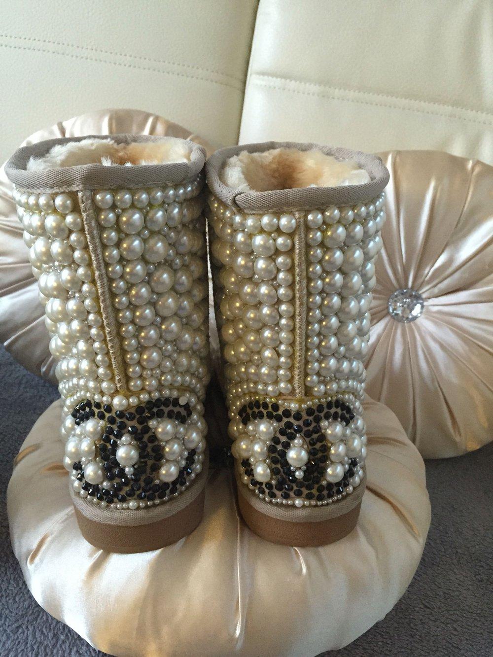 winter boots mit perlen. Black Bedroom Furniture Sets. Home Design Ideas