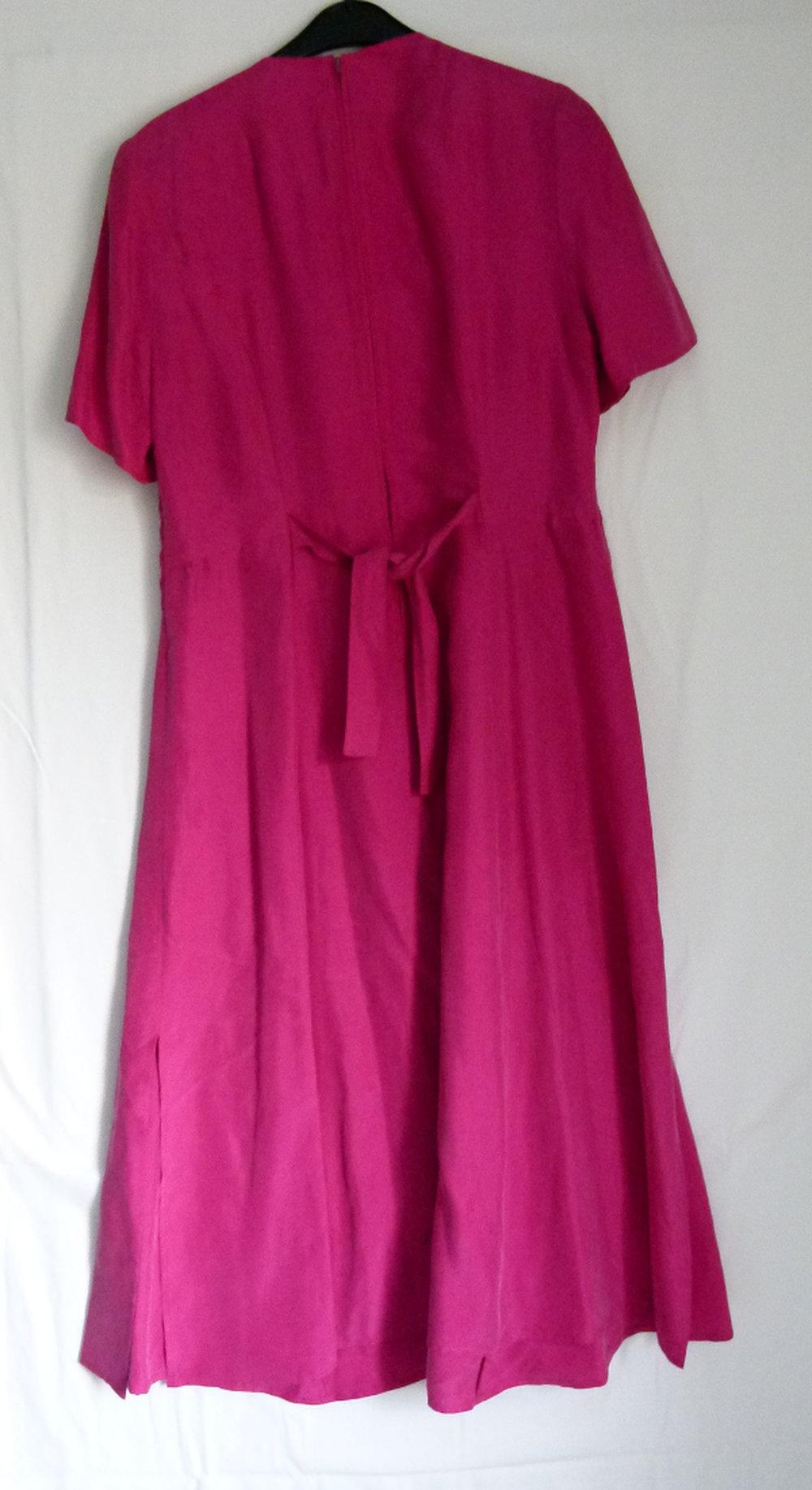 seiden kleid, pink fuchsia, mit rankenapplikation, boho vintage retro  hippie edel