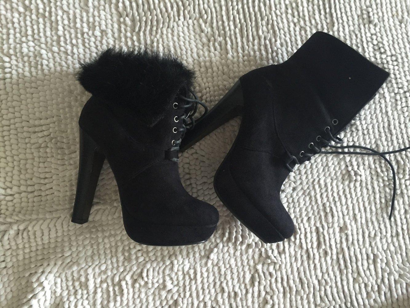 free shipping 64b68 e7701 Fell Stiefel Stiefeletten schwarz hohe Schuhe mit Schnur