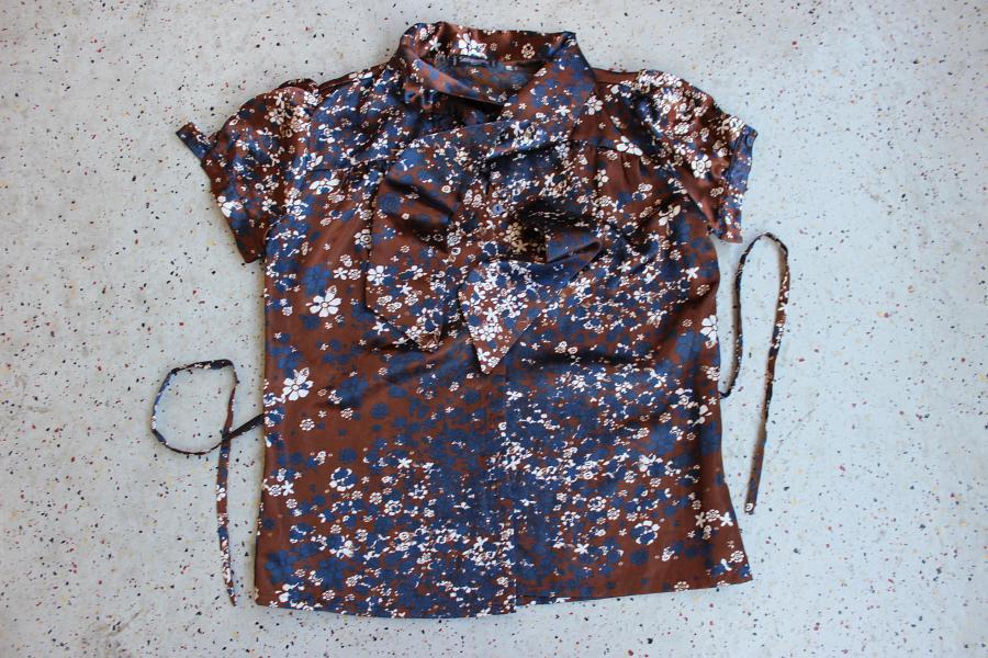 dc82f17ffad18c ... SINÉQUANONE Satin-Schluppen-Bluse, franz. Gr. 38, braun-blau .