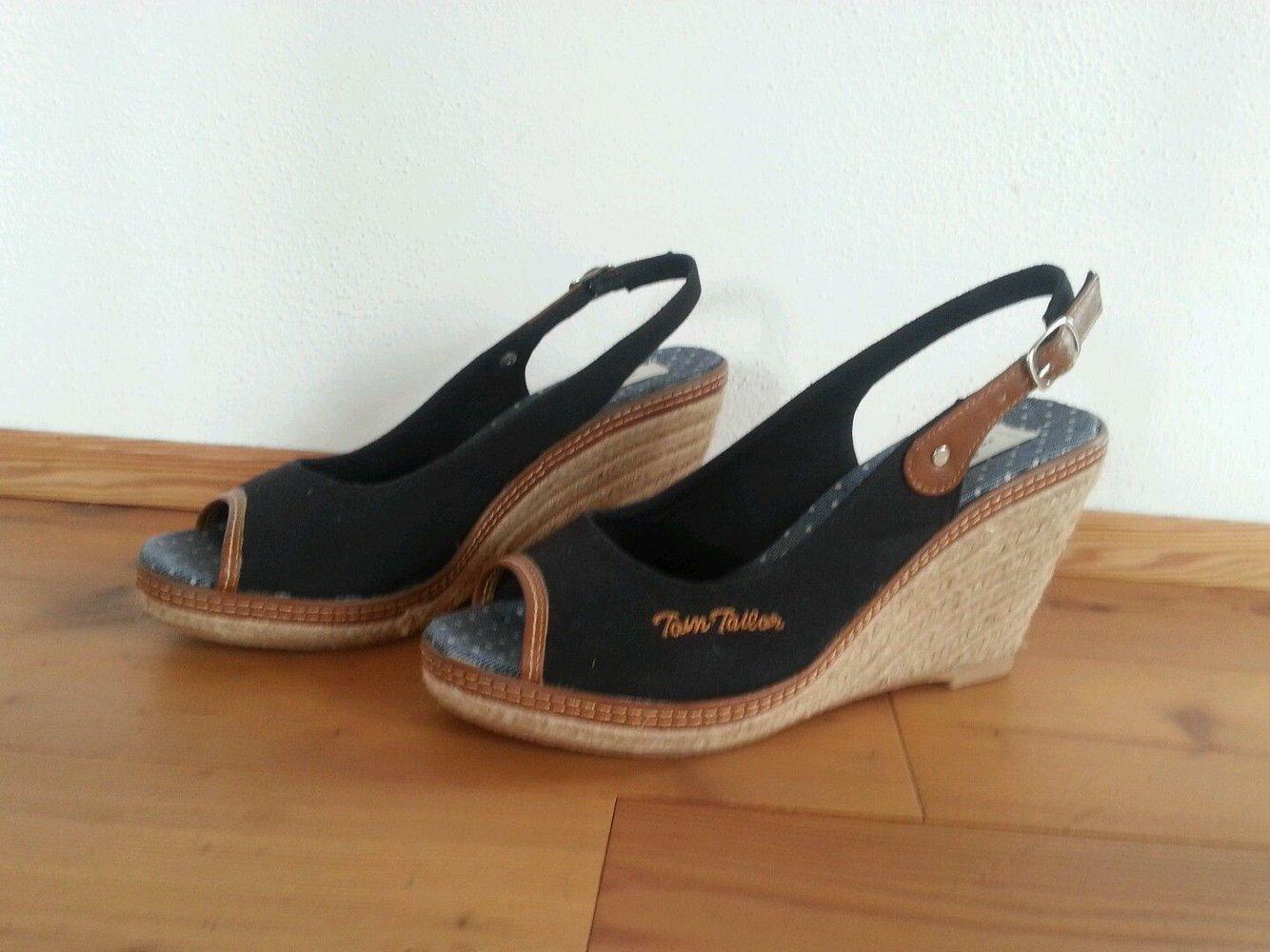 big sale 95ea3 28747 Tom Tailor Wedges Keilabsatz 40 NEU dunkelblau Sandaletten Pumps Peep Toes