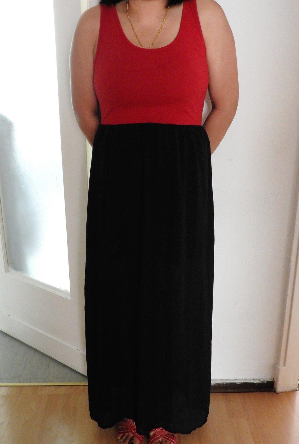 Amisu langes rot-schwarzes Kleid :: Kleiderkorb.de