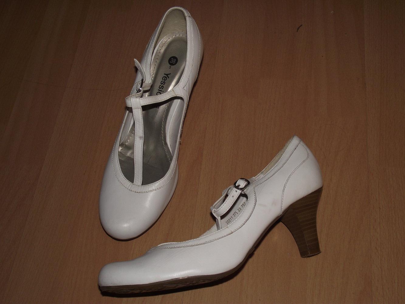 Yessica - weiße Pumps mit Riemchen    Kleiderkorb.de 5f805c13e7