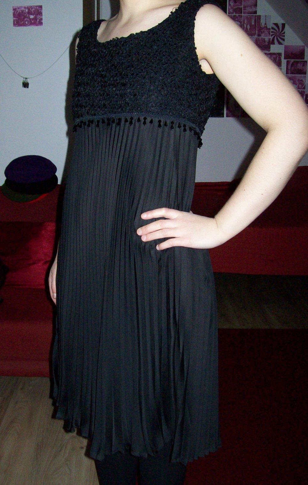 schwarzes Kleid Plissee Falten 20er 20s Charleston Flapper Roaring ...