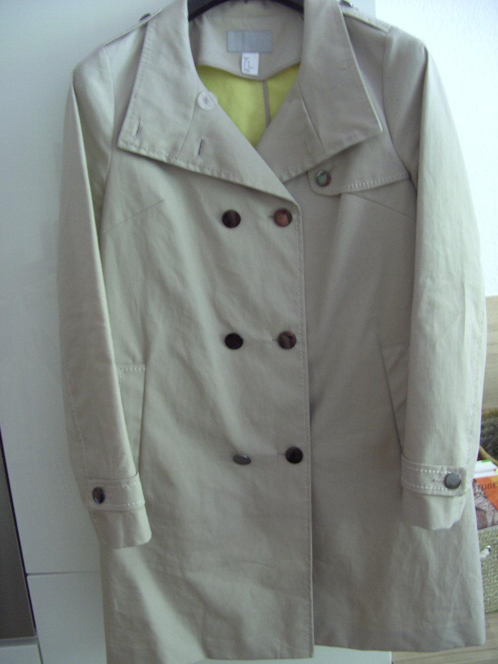 H M Cremefarbener Mantel Im Trenchcoat Style Fur Den Sommer Gr