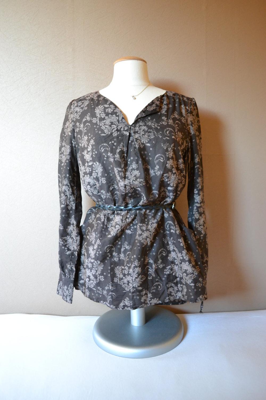 s oliver s oliver bluse braun gemustert seide s m. Black Bedroom Furniture Sets. Home Design Ideas