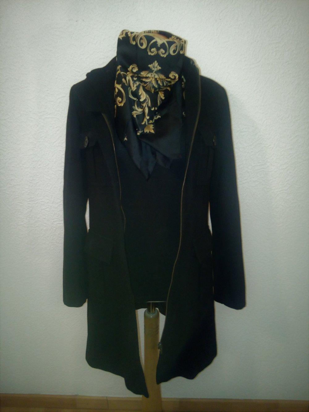 review schwarzer mantel wintermantel wolle schwarz black feminin. Black Bedroom Furniture Sets. Home Design Ideas