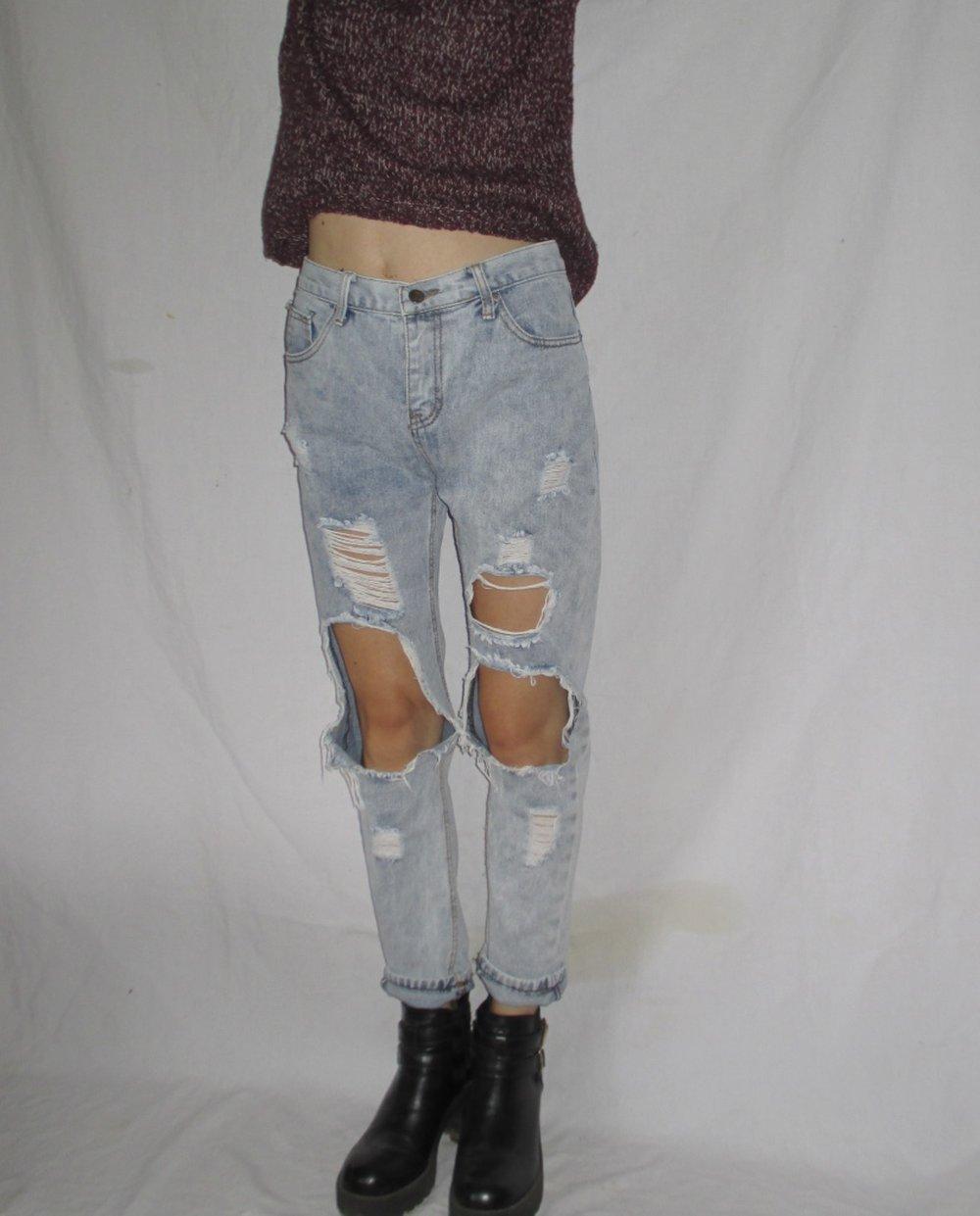 mom jeans highwaist destroy boyfriend l cher risse. Black Bedroom Furniture Sets. Home Design Ideas