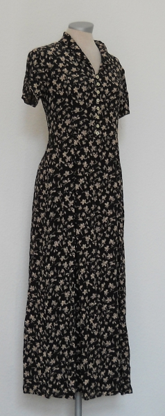 29962840ad5998 ... Laura Ashley Kleid lang kurzarm Streumblumen schwarz nude Gr. 34 XS  vintage .