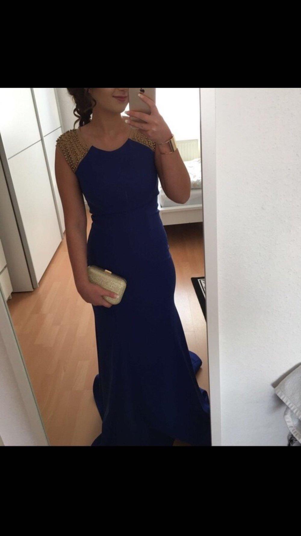 Abendkleid blau gold