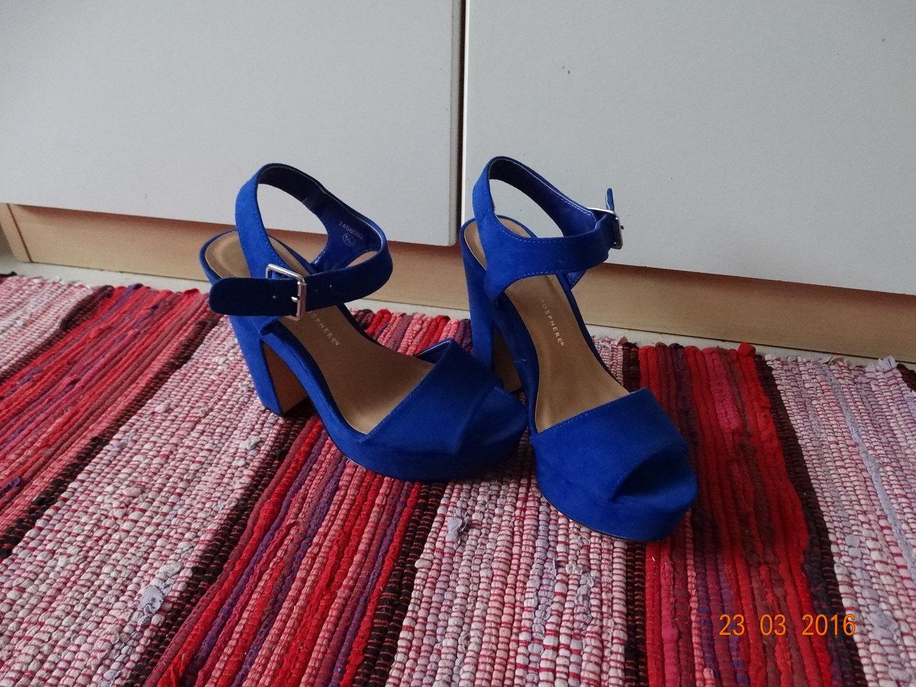 blaue blockabsatz high heels. Black Bedroom Furniture Sets. Home Design Ideas