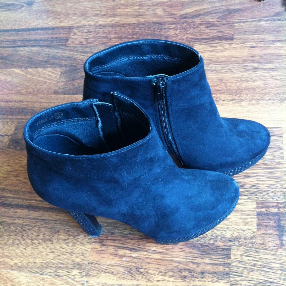 atmosphere schwarze ankle boots mit glitzer. Black Bedroom Furniture Sets. Home Design Ideas