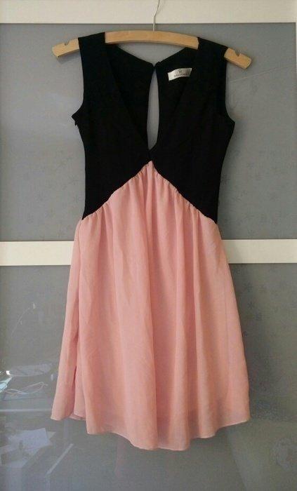 Schwarz rosanes pinkes kleid mit v - Shein kleidung ...