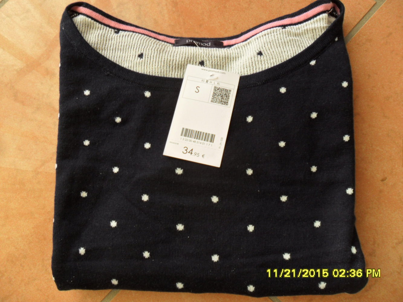promod polka dots punkte pullover sweat shirt dunkelblau wei xs s kastenform. Black Bedroom Furniture Sets. Home Design Ideas