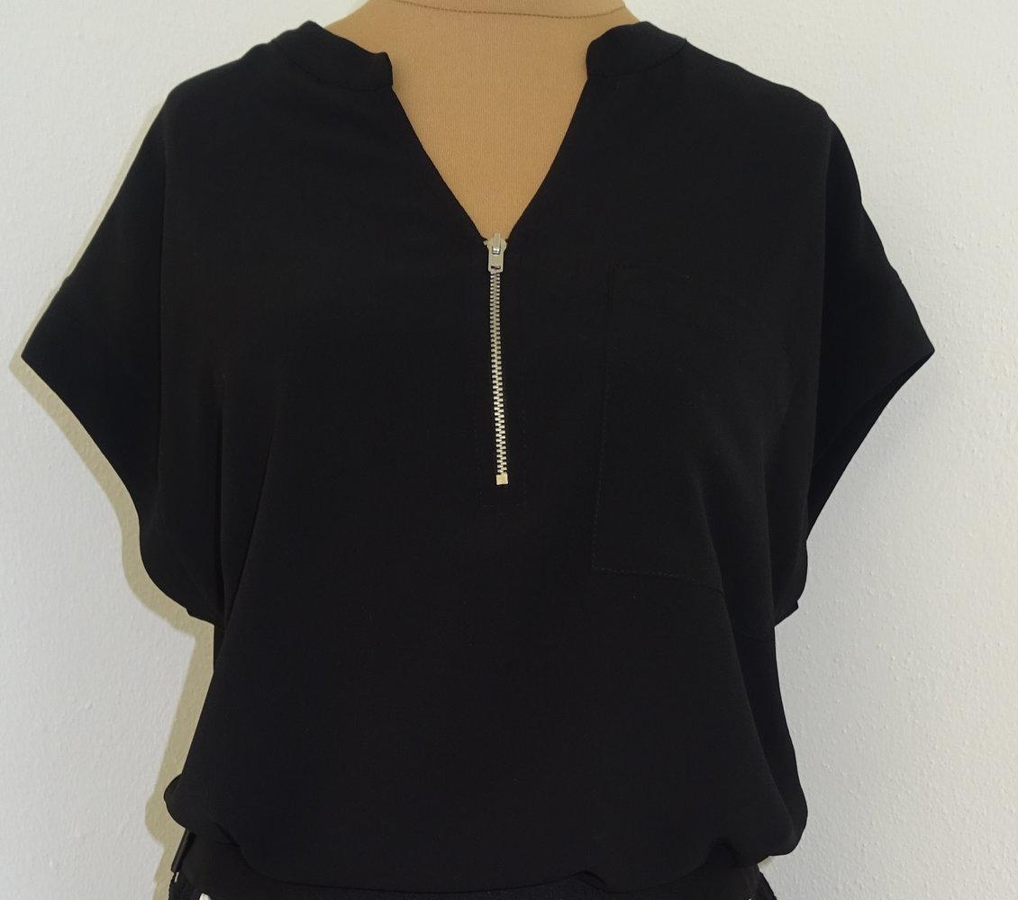 yessica oberteil bluse schwarz neu gr 42 tunika kurzarm. Black Bedroom Furniture Sets. Home Design Ideas