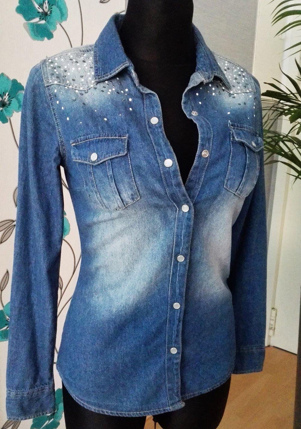 Blaues Jeanshemd - Bluse Gr. xs    Kleiderkorb.de ebf5f87763