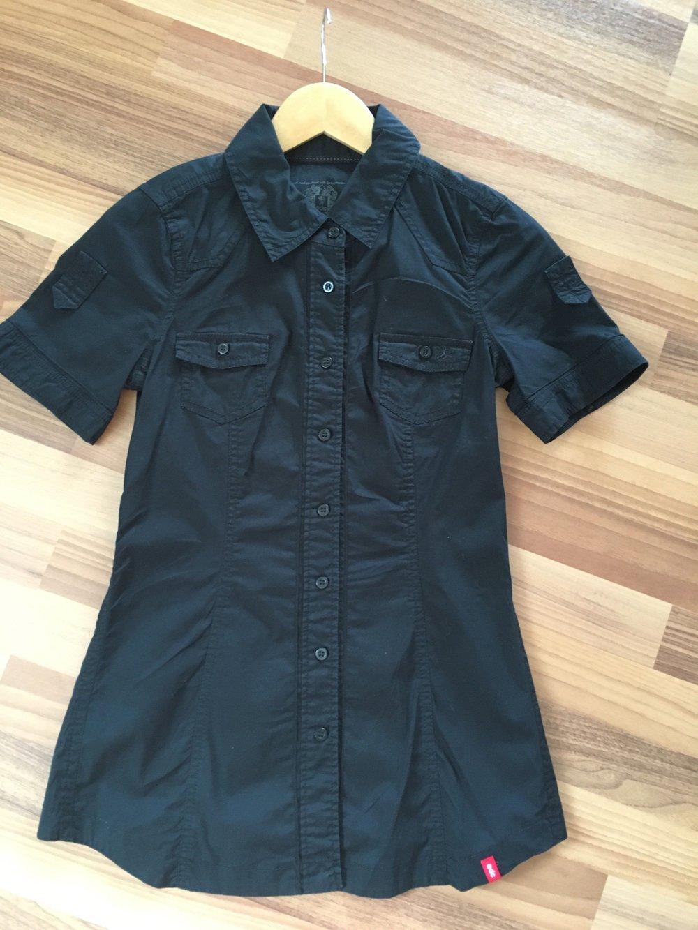 Esprit edc Bluse Damen, Größe XS 34, schwarz, kurzärmlig, kurzarm