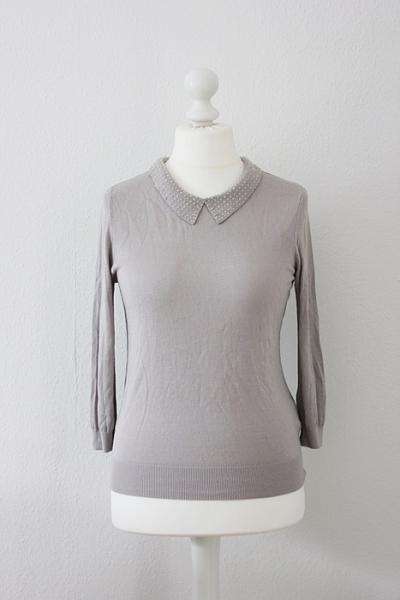 h m feinstrick pullover oberteil mit perlen kragen m 40. Black Bedroom Furniture Sets. Home Design Ideas