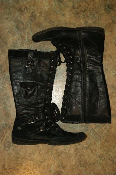 on sale d9d5e a9915 Dockers Stiefel Gr 39 schwarz Biker-Stiefel Leder-Stiefel Schnürstiefel  Boots