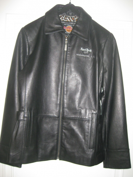 NEU echte Lederjacke schwarz Hard Rock Cafe Washington D.C. S