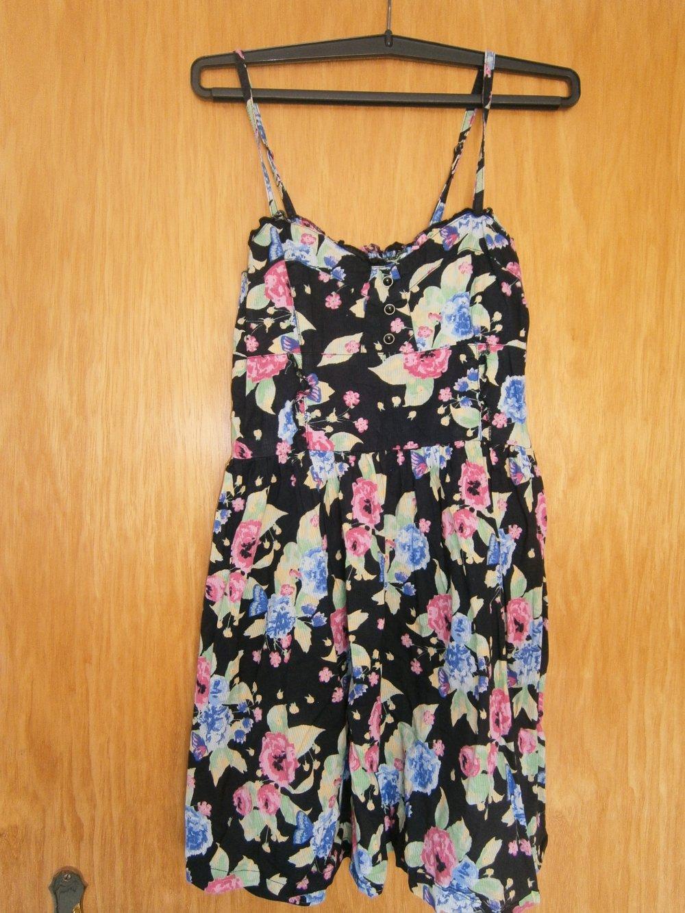 h & m kleid sommerkleid 36 minikleid spaghettiträger blumenmuster