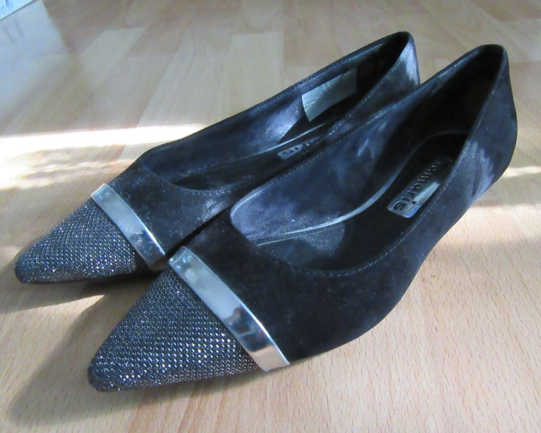 Tamaris Ballerina, Gr. 39, schwarz silber