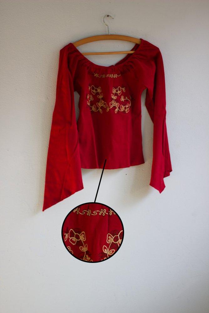 Stickerei Vintage Yadou Boho Rot Bluse Trompetenärmel 5rsjac34lq Blumen 2YIDH9eEW
