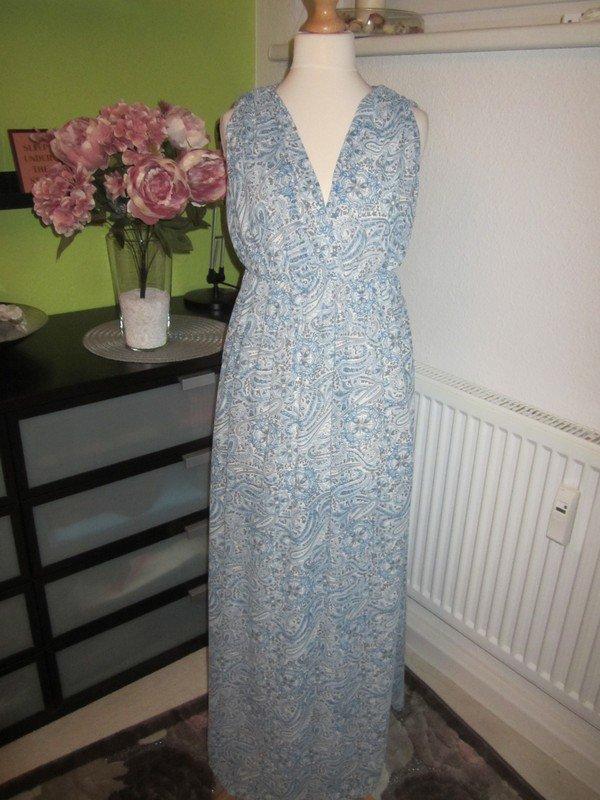 09c8e8293b4280 ... H&M Maxikleid Sommerkleid Chiffon Paisley Muster hellblau weiß .