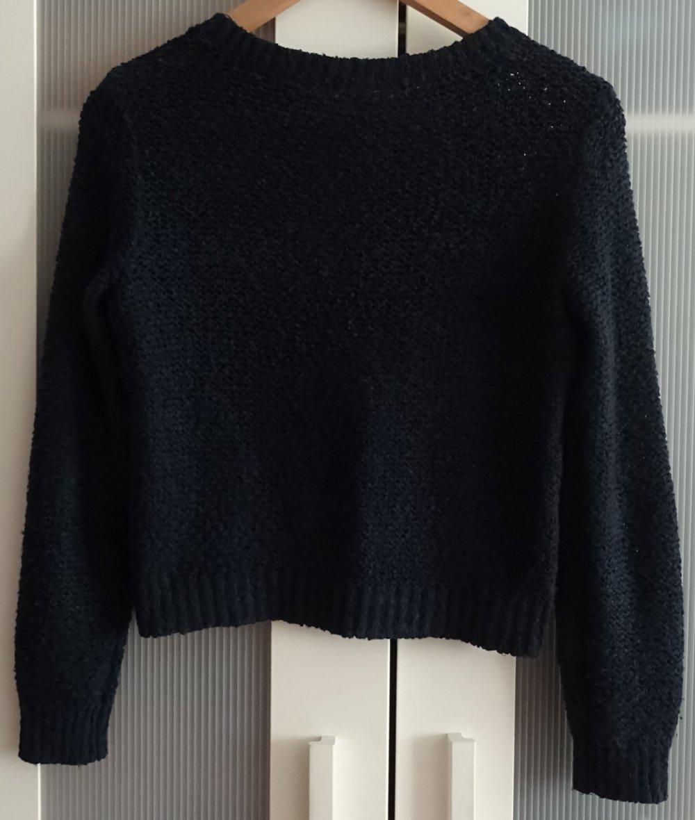 size 40 72a55 1e620 Kurzer Croptop Winter Pulli grob gestrickt dunkelblau schwarz Gr 34 XS H&M