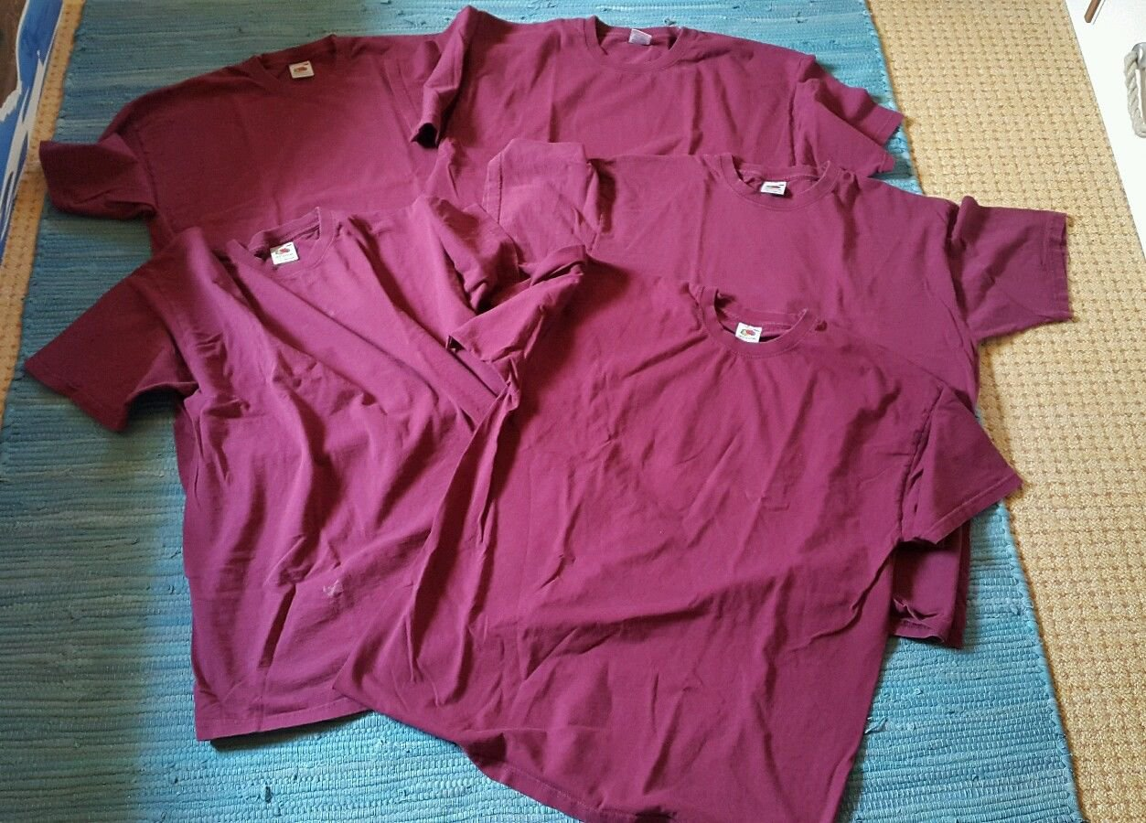 5 x Damen T-Shirt Oberteil Gr. XL (Fruit of the Loom) rot kurzarm ... 96690ad570