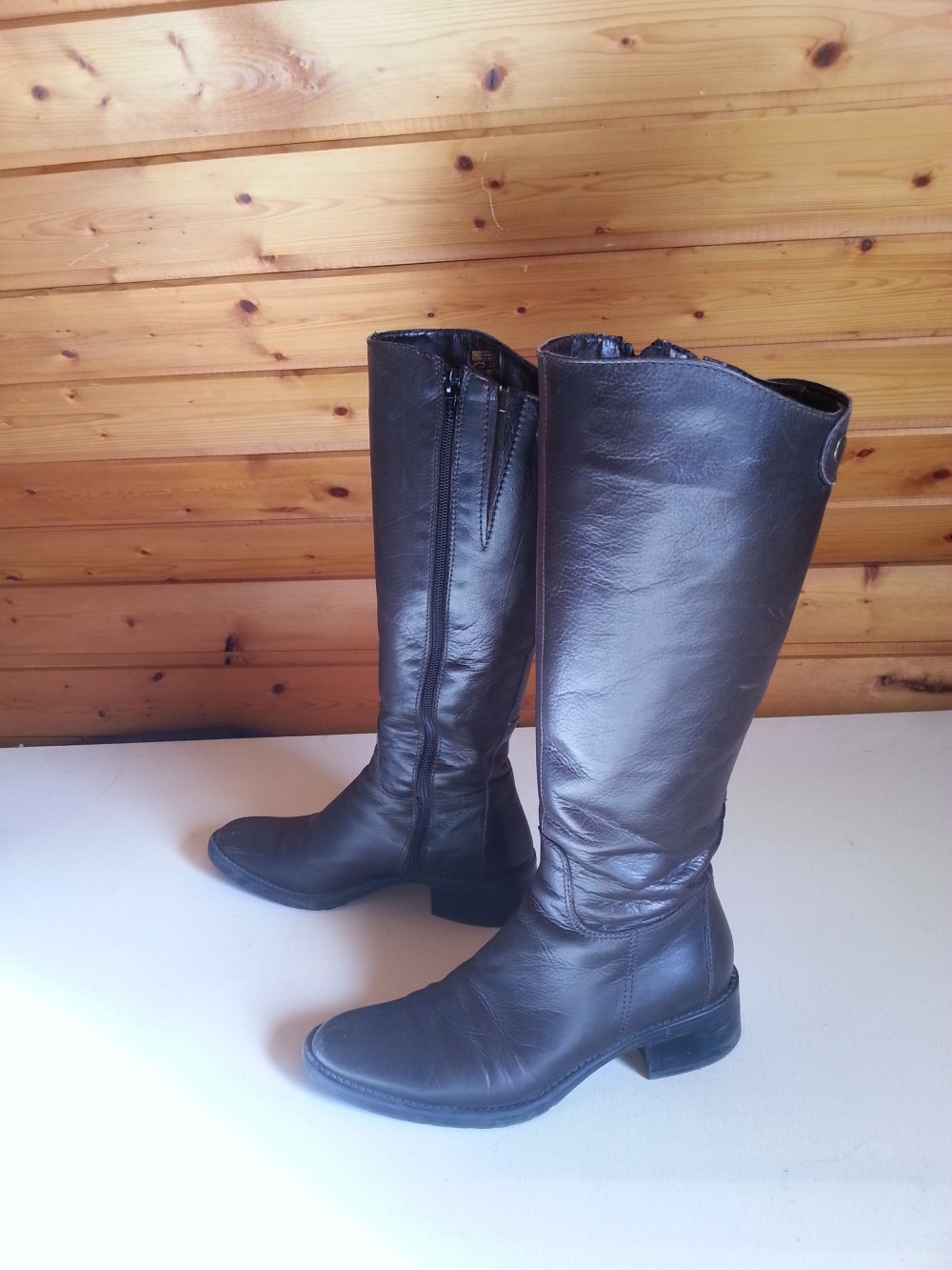 Stiefel Schuhe Leder Deichmann rotbraun braun dunkelbraun Herbst Winter Damenstiefel glänzend