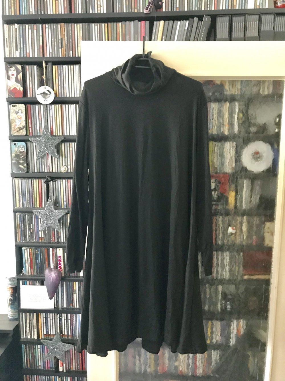 Kleid in A-Linie schwarz mit Rollkragen (nicht anliegend) von Floryday -  weicher Stoff - Grösse 18XL - ungetragen
