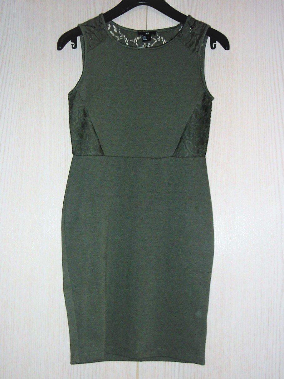 a0ecde5ff49 H M - Tolles Kleid in Olivgrün mit Cutouts und Spitze    Kleiderkorb.de