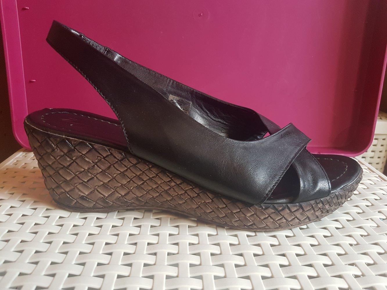 Wedges Sandaletten von Zign, schwarz braun, Gr. 40