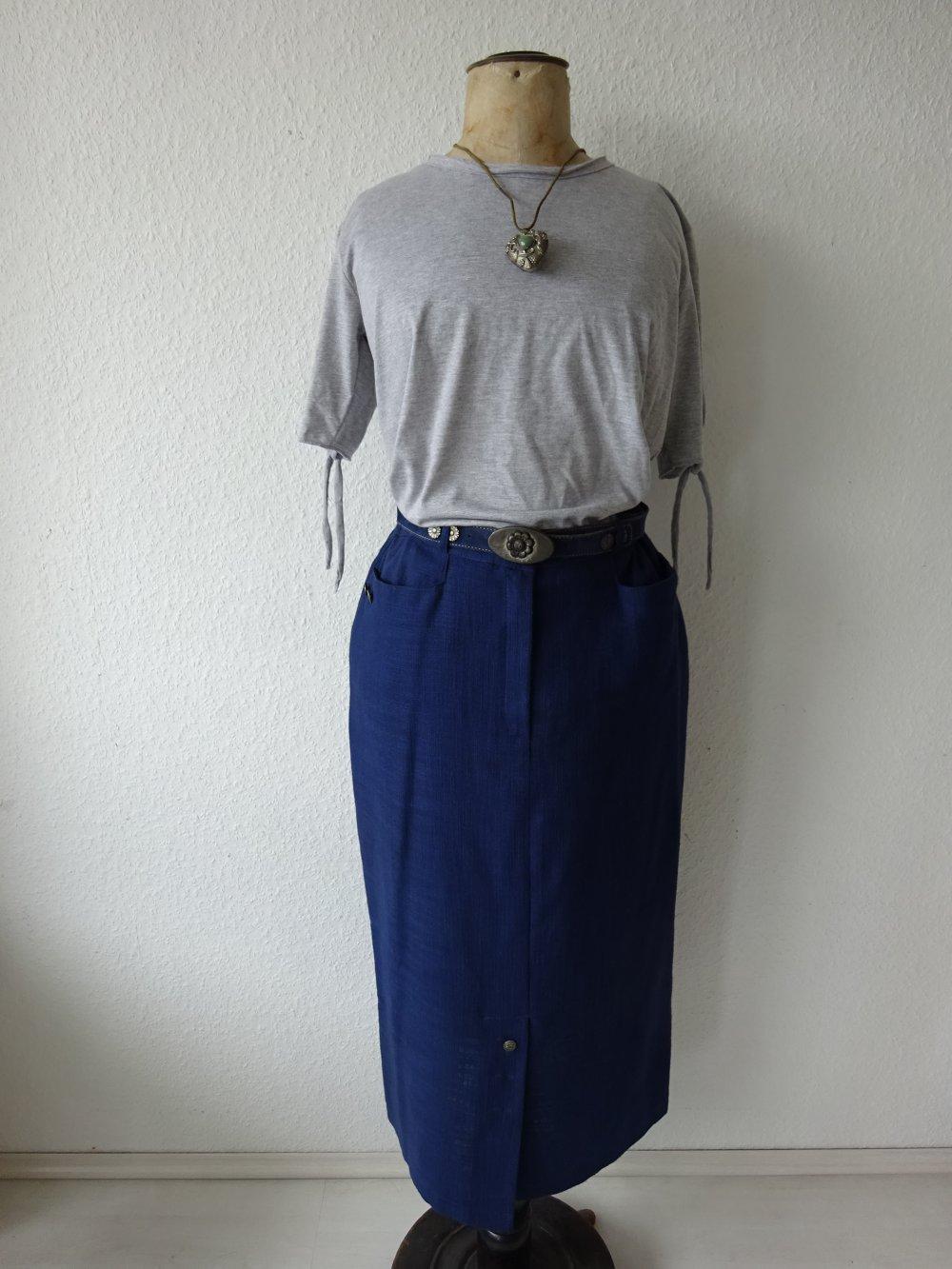 size 40 60cf6 a697a Wunderschöner blauer langer Leinen Trachten Bleistift Rock mit Gürtel