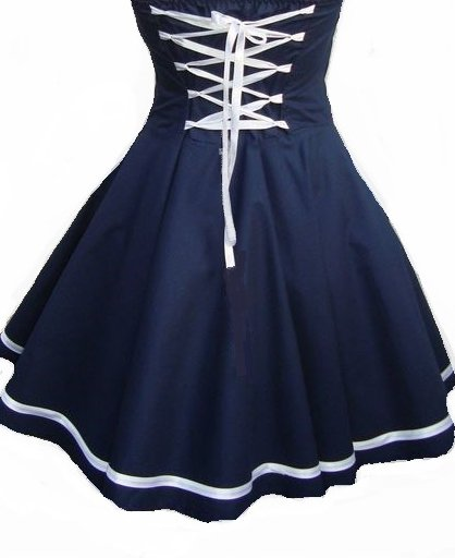1be97354d0c572 Kleid Cocktailkleid Petticoatkleid Neckolder ROCKABILLY maritim marineblau  weiß Gr.38 UNIKAT ...