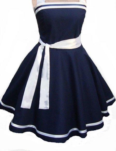 431337c476cc NEUES! Kleid Cocktailkleid Petticoatkleid Neckolder ROCKABILLY maritim  marineblau weiß Gr.38 UNIKAT