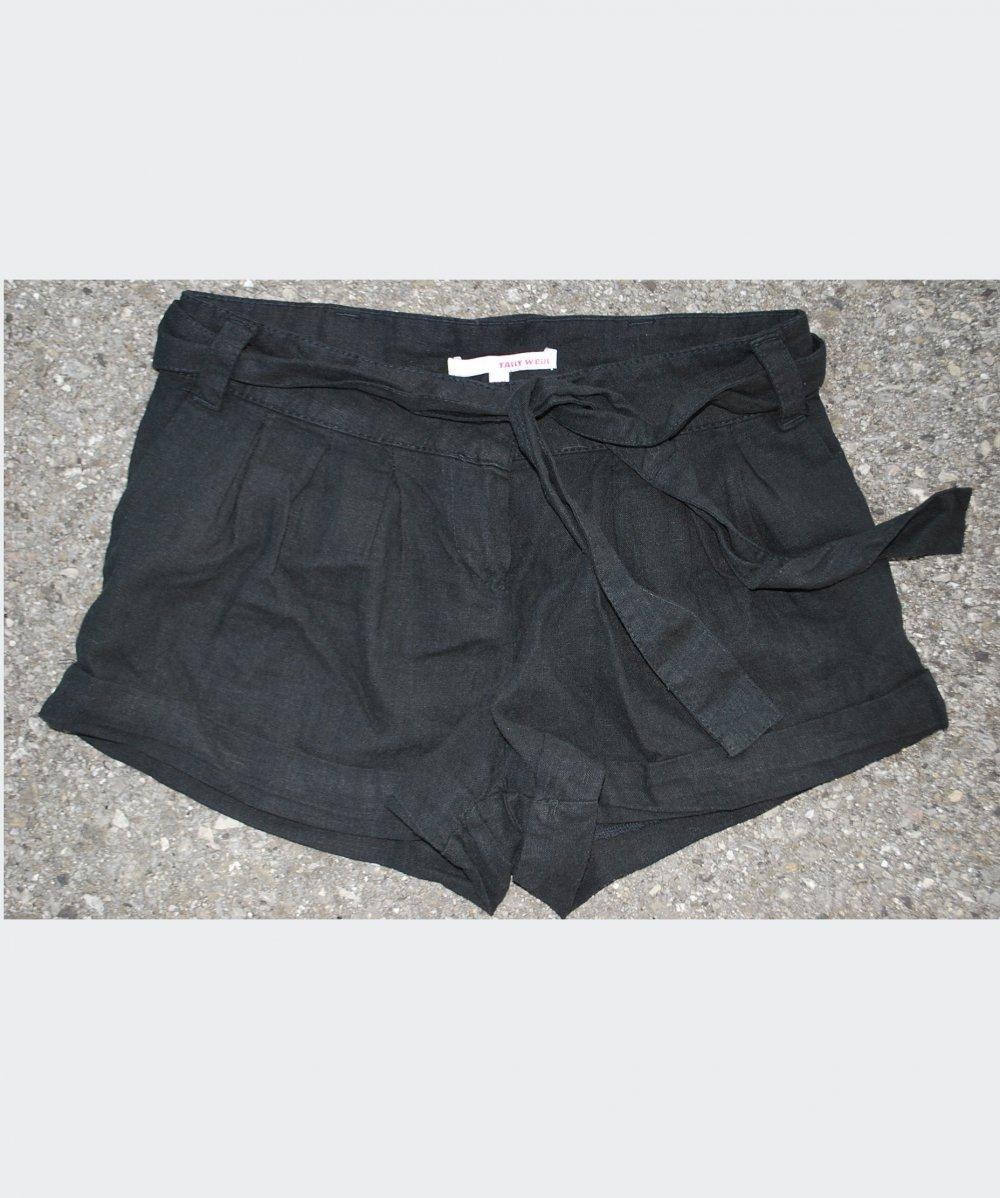 80d5e183b0671b ... schwarze kurze Hose mit Stoffgürtel, Tally Weijl, Größe XS/34/6 .