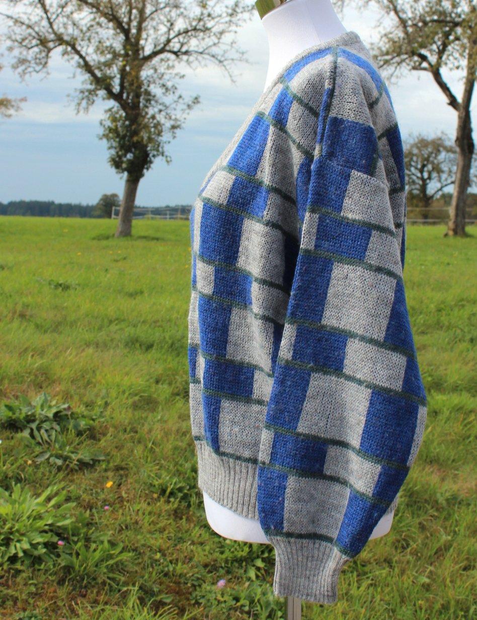 grau blau und dunkelgrüner True Vintage Oversize Pullover, geometrisches Muster, Größe S