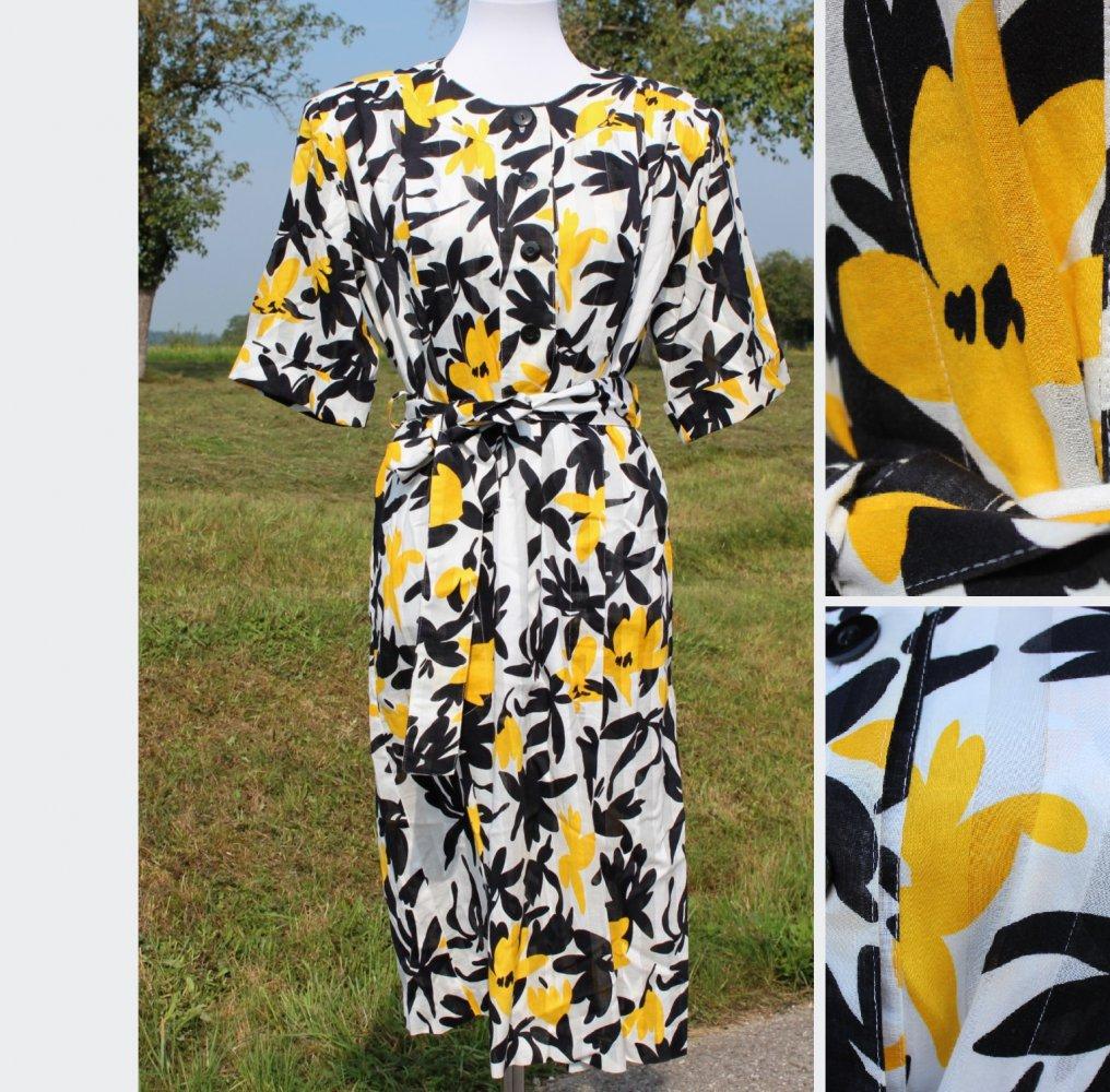 knielanges weißes True Vintage Kleid mit abstrakten Blumen in schwarz u.  gelb, Größe 13, Rockabilly